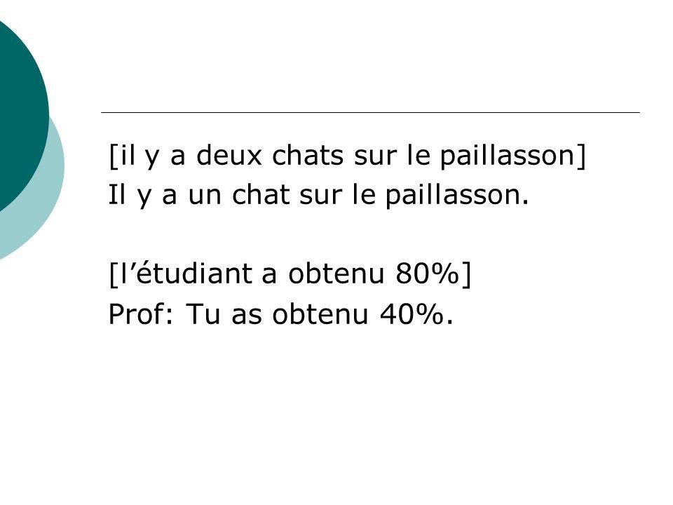Prof: Tu as obtenu 40%. [il y a deux chats sur le paillasson]